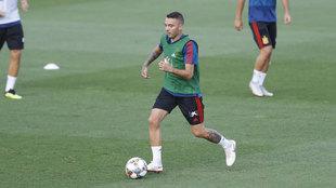 Iago Aspas, durante un entrenamiento con la Selección.