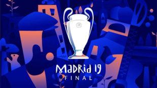 Cartel de la final de Champions League 2019 en el estadio Wanda...