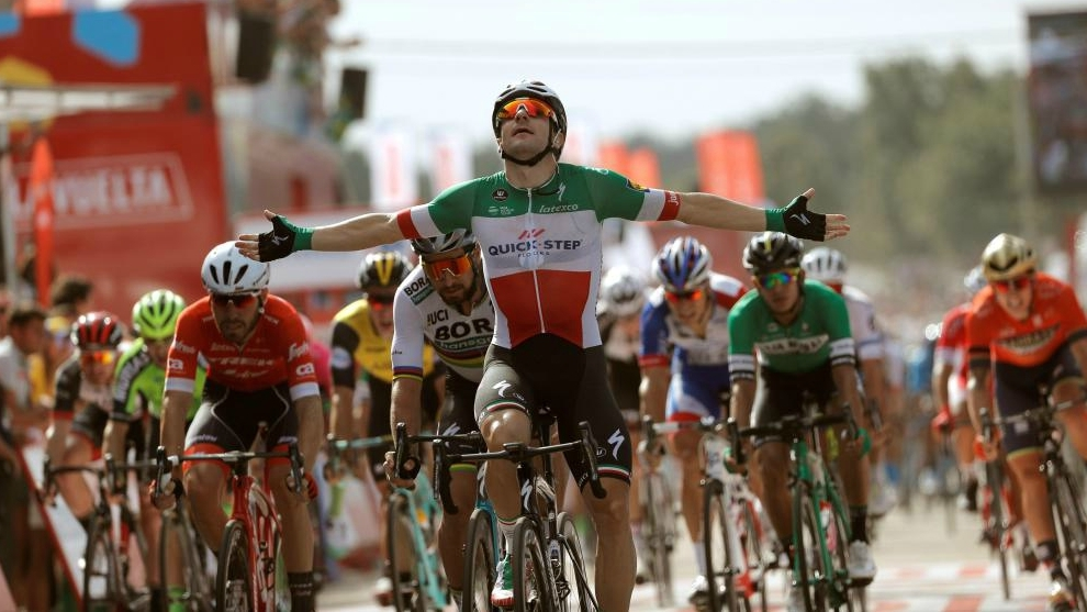 Quick-Step Team's Elia Viviani celebrates as he wins the 10th stage