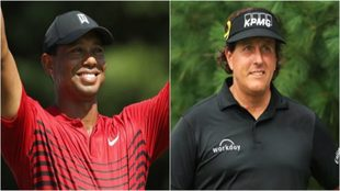 Tiger Woods (42) y Phil Mickelson (48).
