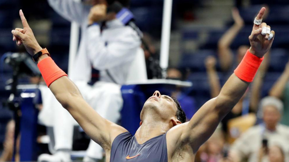 Nadal celebrates after defeating Austria's Dominic Thiem.