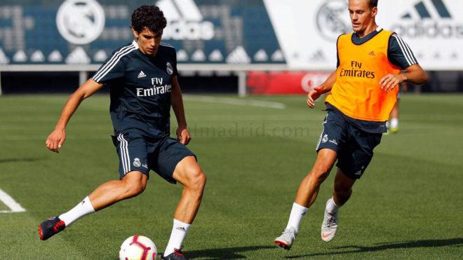 Vallejo, durante el entrenamiento del Madrid