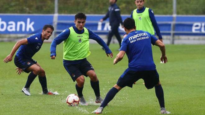 Barrenetxea, jugador de 16 años, en un entrenamiento.