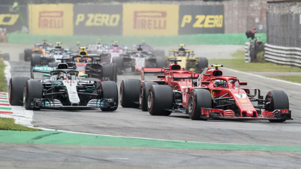 Hamilton adelanta a Vettel en la primera vuelta del GP de Italia 2018.