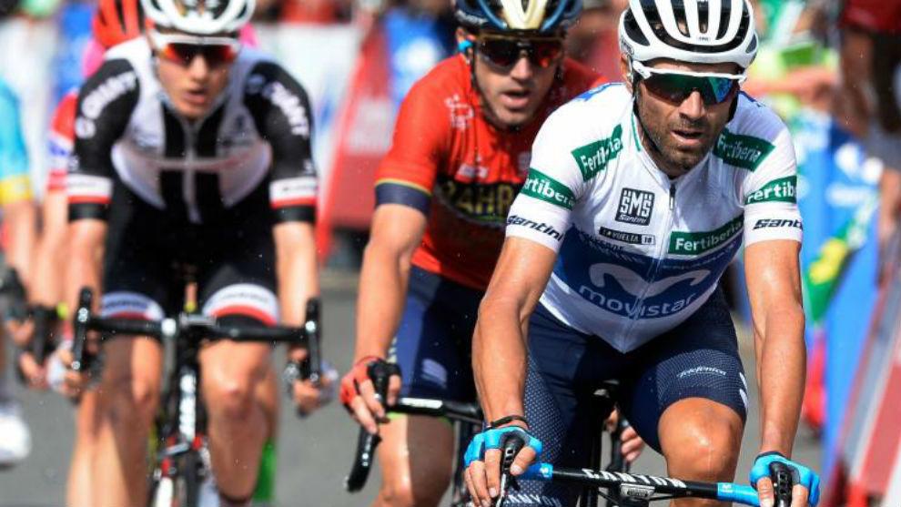 Alejandro Valverde entrando en meta en la 11ª etapa.