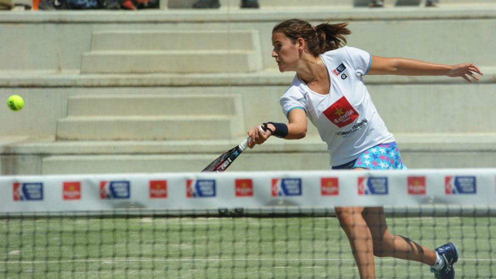 Isabel Domínguez durante un partido esta temporada.