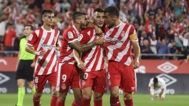 El Girona celebra el gol de Borja García al Real Madrid, en...