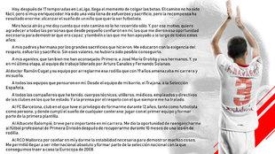 Carta de despedida de Fernando Navarro