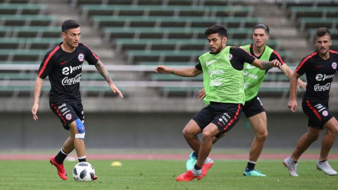 La selección chilena durante un entrenamiento.