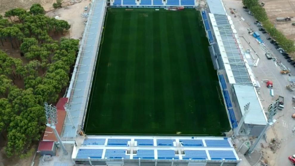 Vista aérea del Estadio de El Alcoraz
