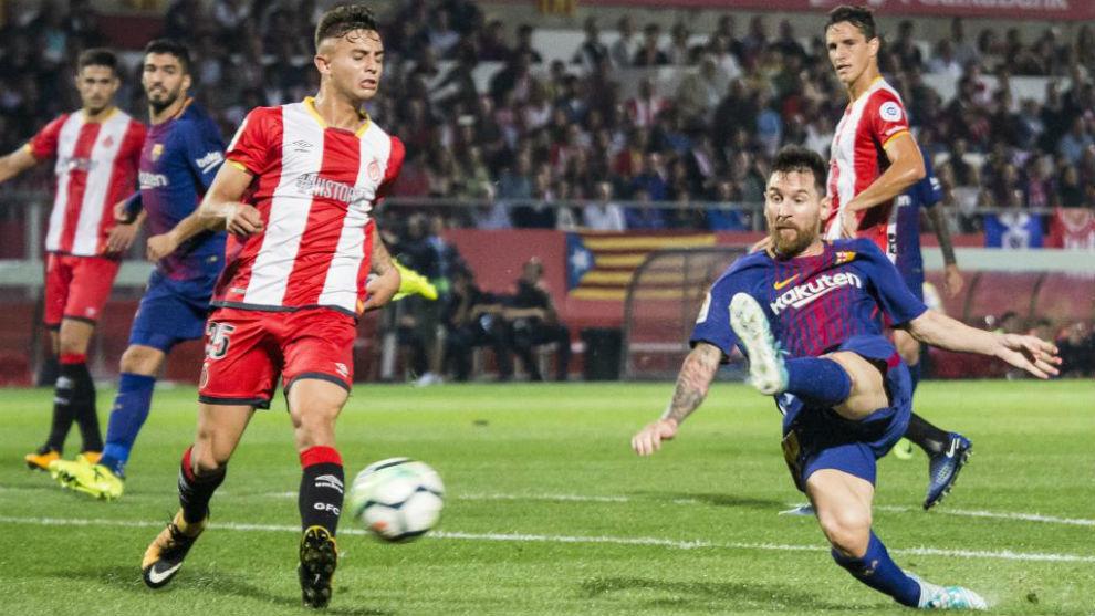 Acción del encuentro entre el Girona y el Barça del curso pasado.