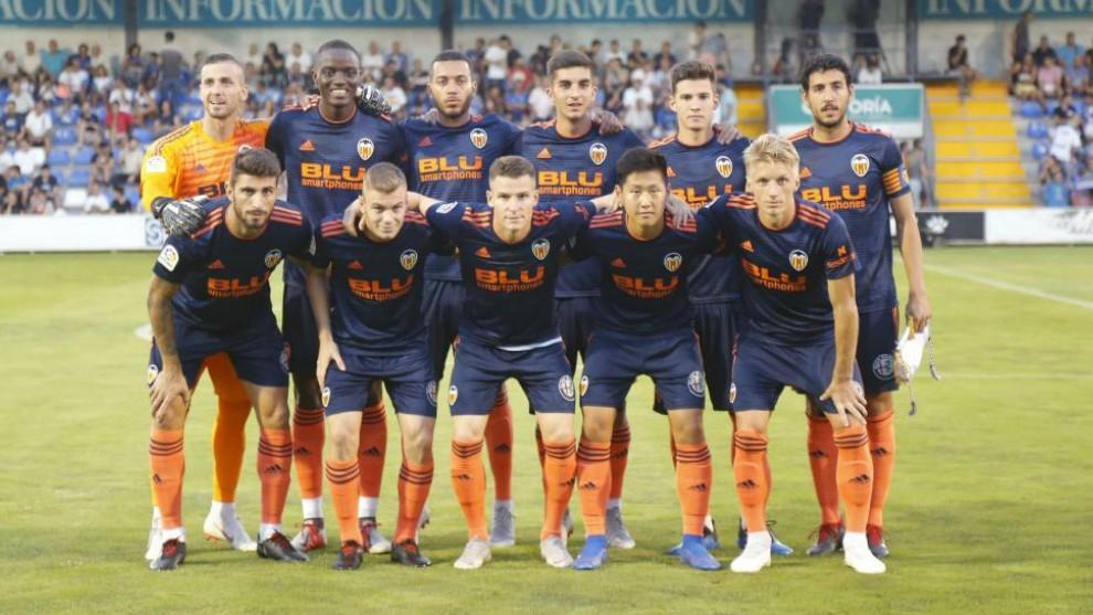 Once del Valencia contra el Alcoyano