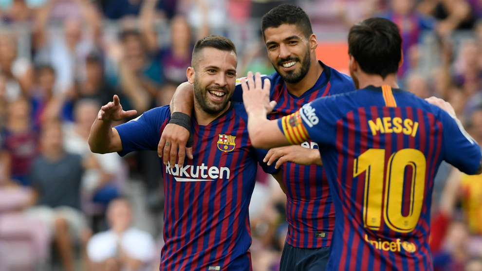 Messi, Luis Suarez and  Jordi Alba celebrate Huesca's own goal