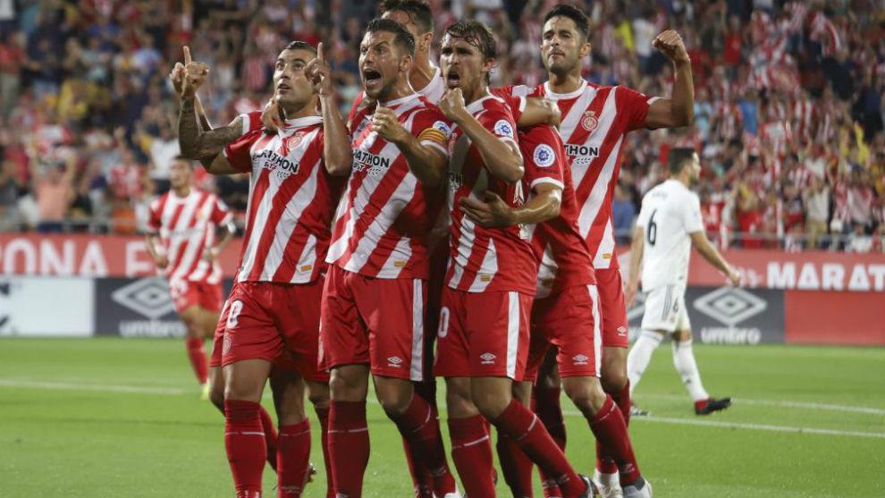 Los jugadores del Girona en una imagen de esta temporada.