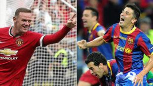 Rooney y Villa, con las camisetas de Manchester United y Barcelona...