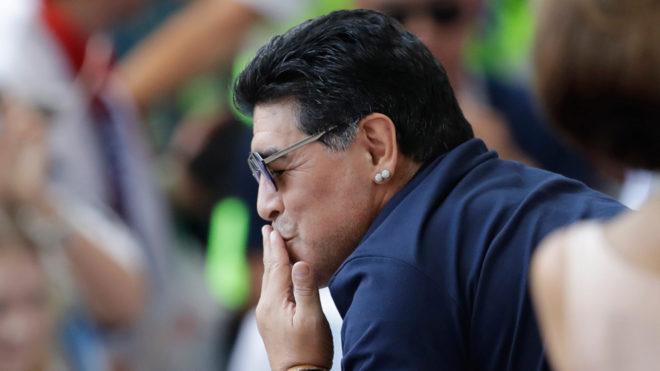 Maradona durante la Copa del Mundo Rusia 2018.