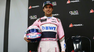El piloto mexicano, en la presentación del Kartódromo Checo Pérez