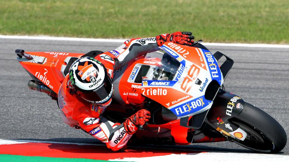 Ducati Team's Spanish rider Jorge Lorenzo takes a curve.