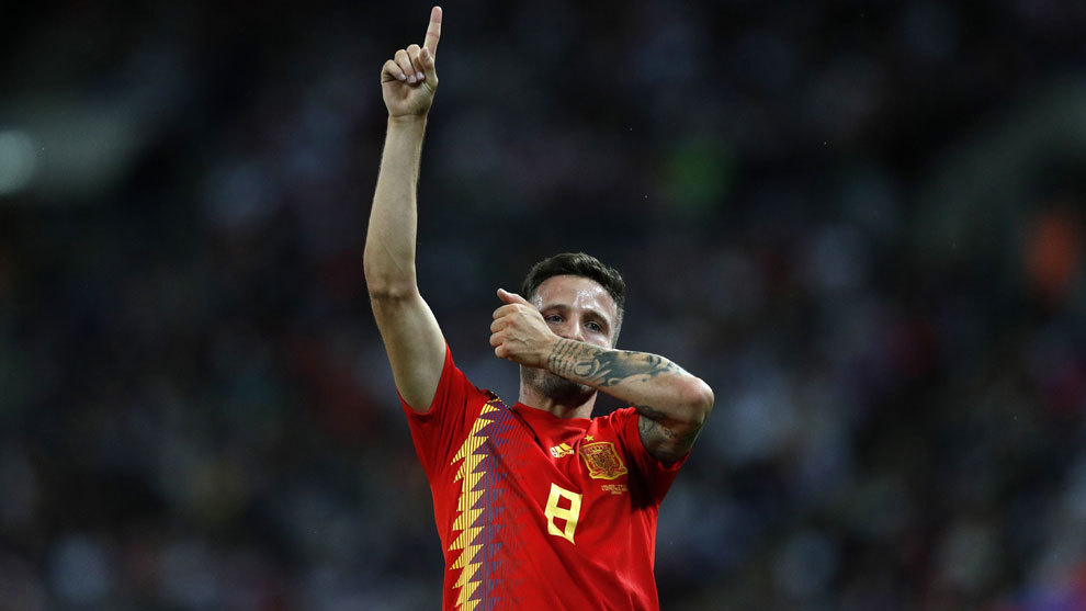 Saul Niguez celebrates his goal