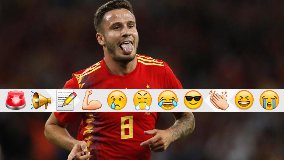 Saúl celebra su gol a Inglaterra