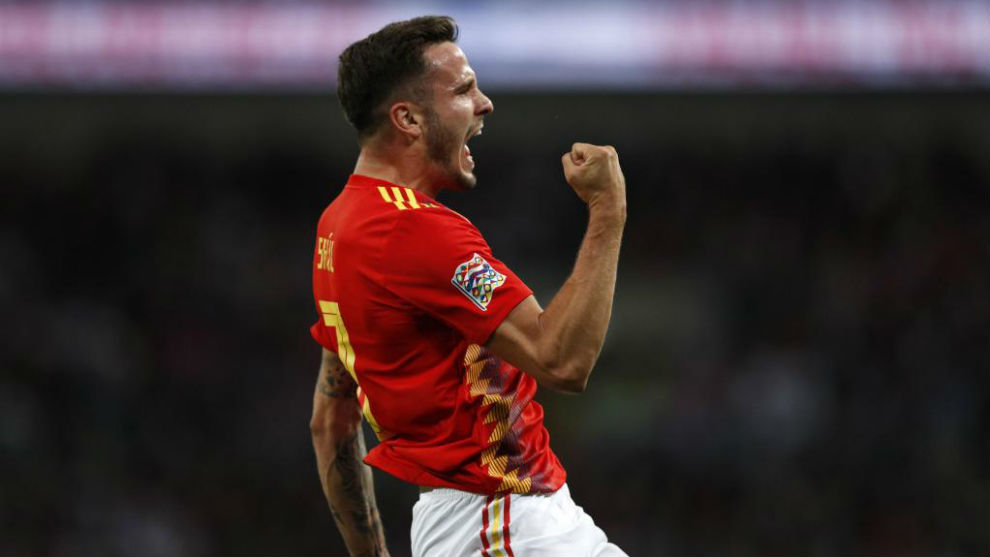 Spain's midfielder Saul Niguez celebrates after scoring at Wembley.