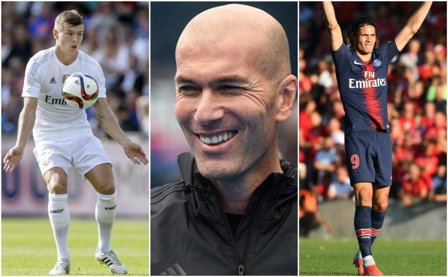Toni Kroos, Zinedine Zidane and Edinson Cavani