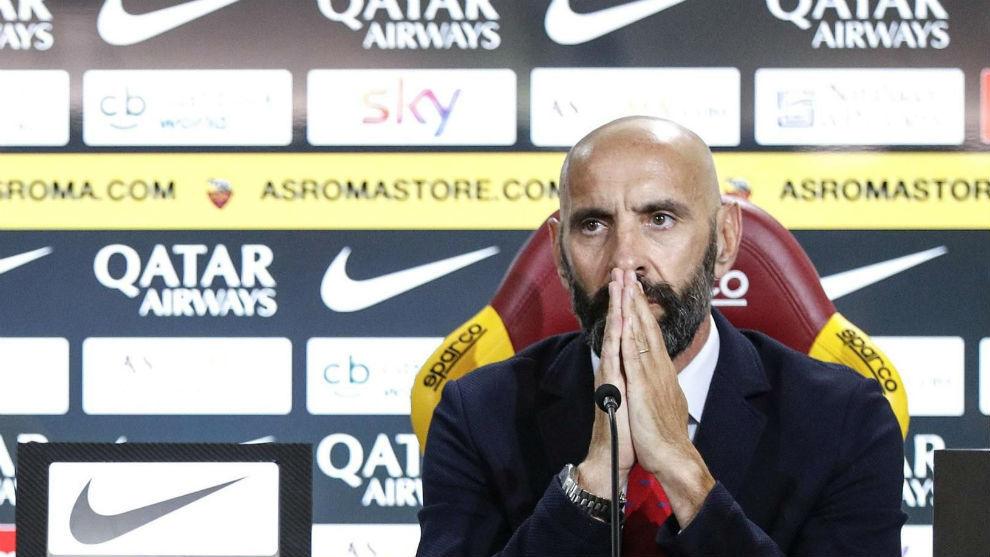 Monchi (49), en rueda de prensa con la Roma.