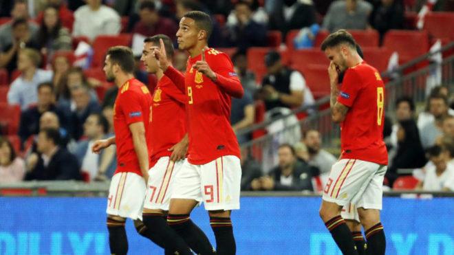 Rodrigo celebra el gol de la victoria de España ante Inglaterra,