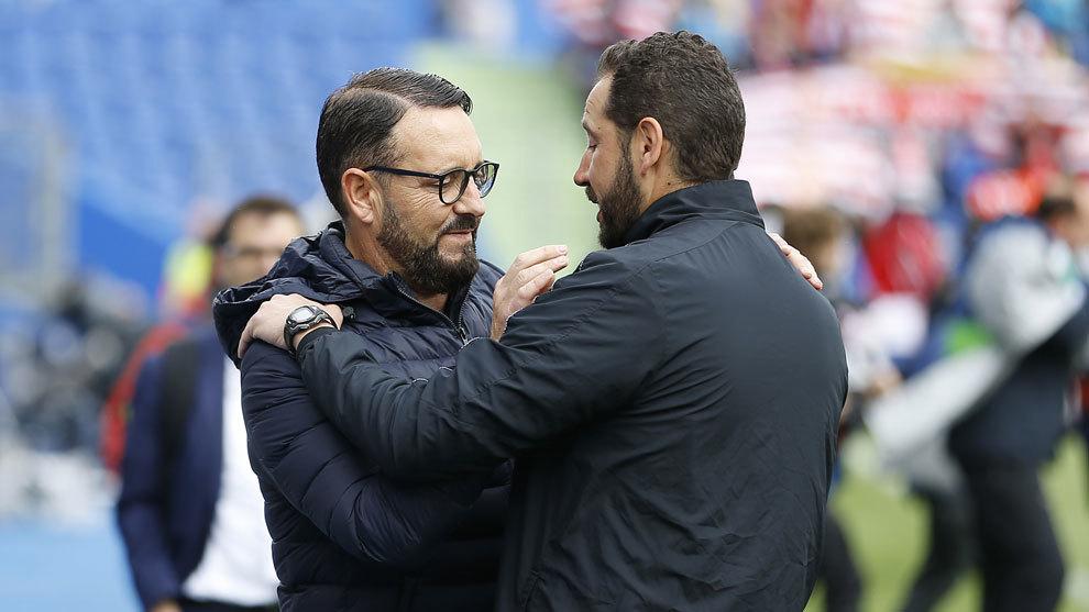 Bordalás y Machín en un partido de la pasada temporada.
