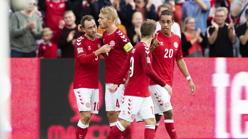 Denmark's national team celebrates a goal