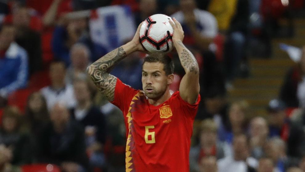 Iñigo Martínez, durante el encuentro frente a Inglaterra