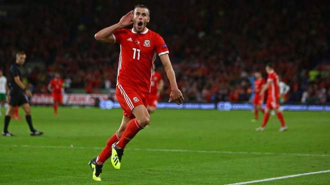 Real Madrid forward Gareth Bale celebrates scoring for Wales
