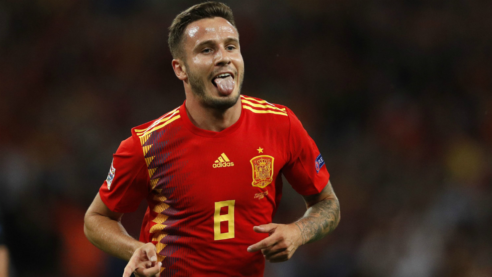 Spain's midfielder Saul Niguez celebrates after scoring at Wembley