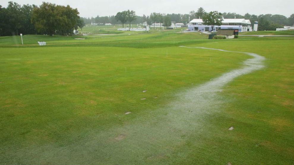 Así ha dejado la lluvia el Aronimink Golf Club.