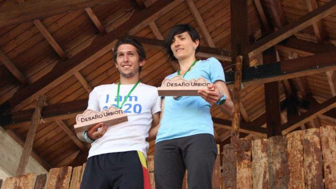 Manu Merillas y Oihana Kortazar, en el podio.