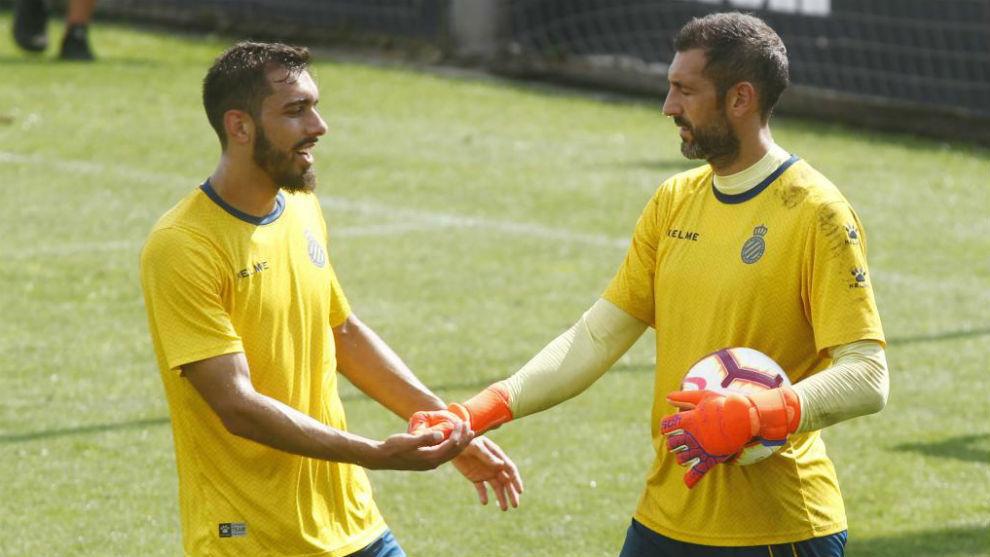 Borja, junto a Diego López, en una sesión de entrenamiento.