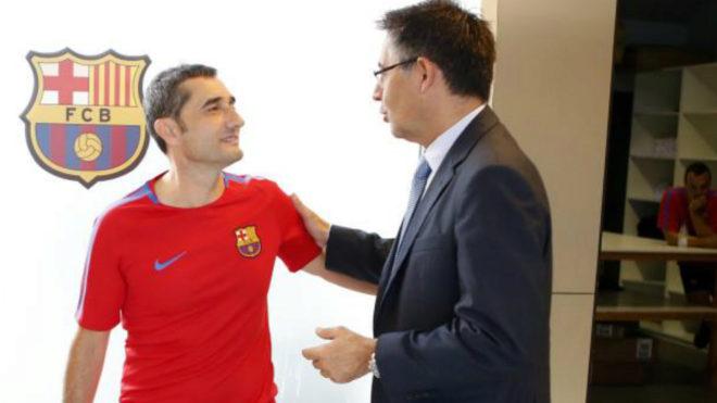 Ernesto Valverde and Josep Maria Bartomeu