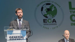 Agnelli, en la reunión de la ECA.
