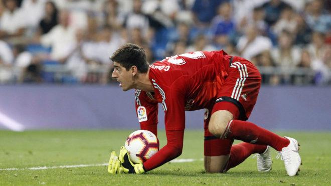 Courtois, durante el partido de su estreno ante el Leganés.