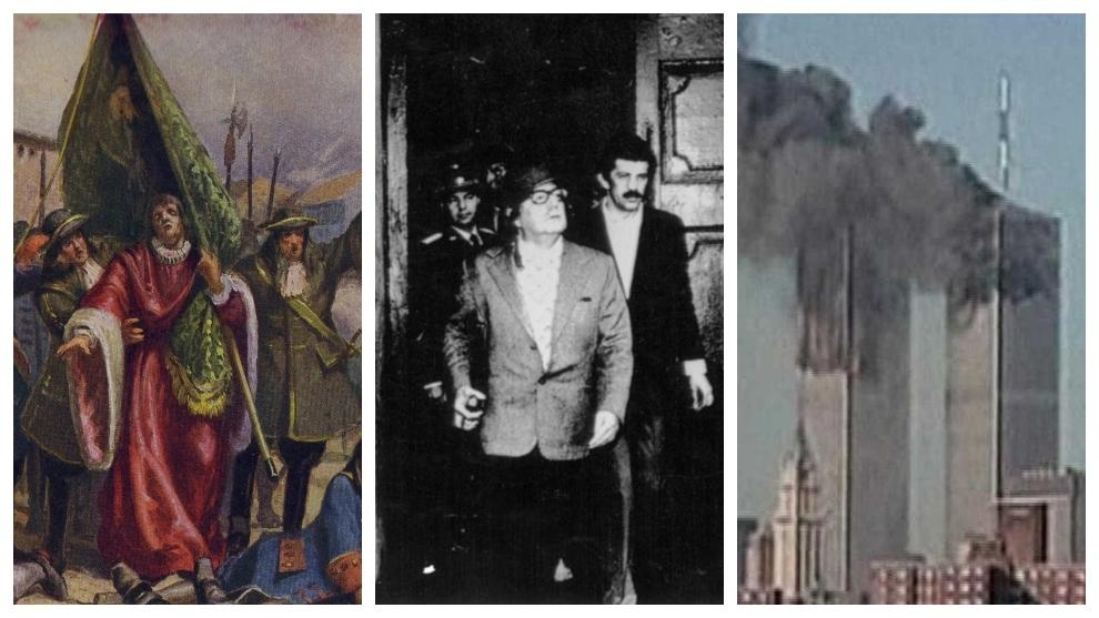 Toma de Barcelona según dibujo del siglo XIX, el presidente Allende y...