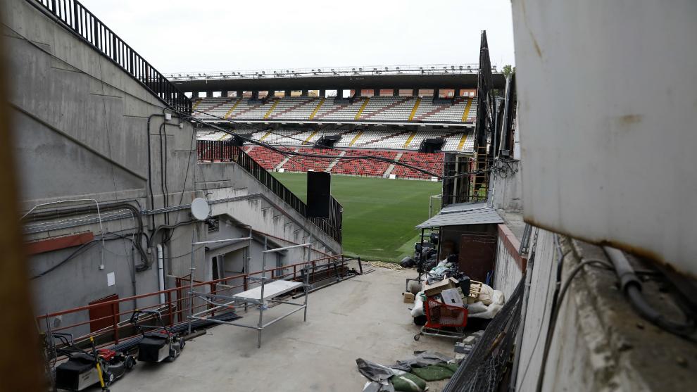 El Estadio de Vallecas, durante las obras de remodelación y mejora