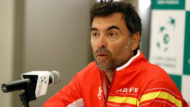 Sergi Bruguera, en rueda de prensa