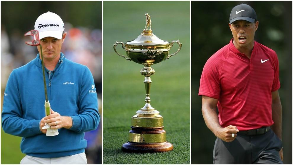 Justin Rose y Tiger Woods, figuras de Europa y Estados Unidos.