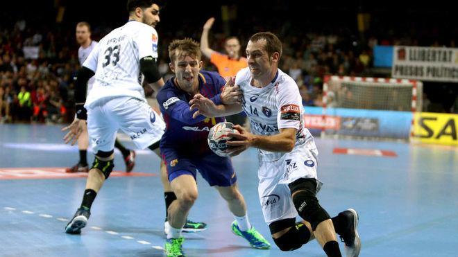 Aleix Gómez y Mikhael Guigou en un Barcelona-Montpellier de la pasada...