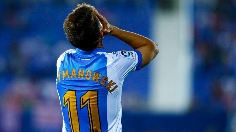 Szymanowski se lamenta durante un partido del Leganés la pasada...