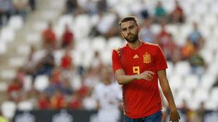 Borja mayoral en un partido de la Sub 21.
