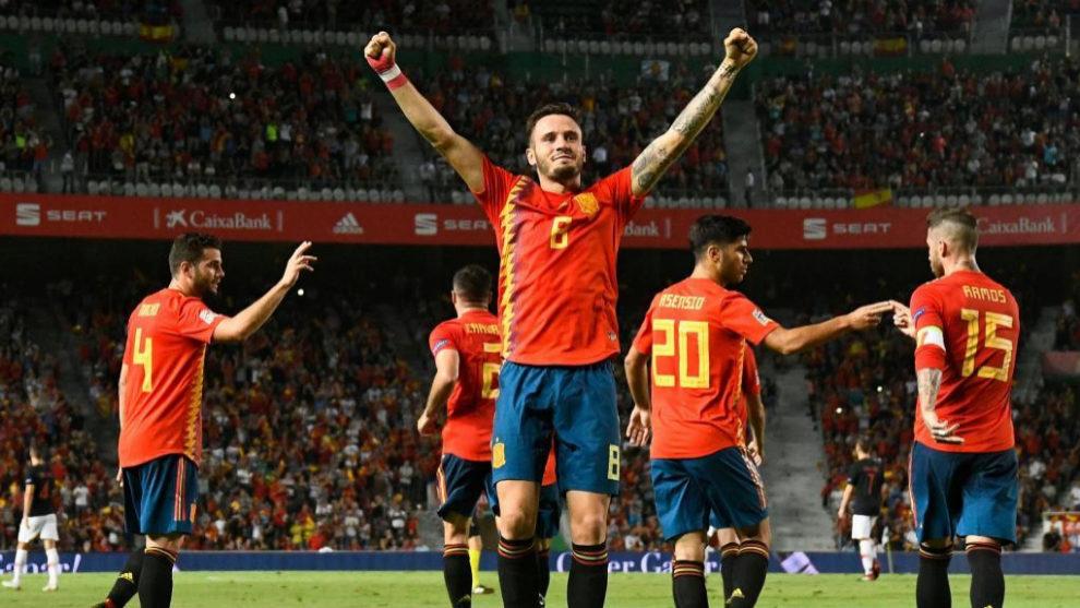 Saúl celebra el 1-0 logrado ante Croacia en el Martínez Valero.