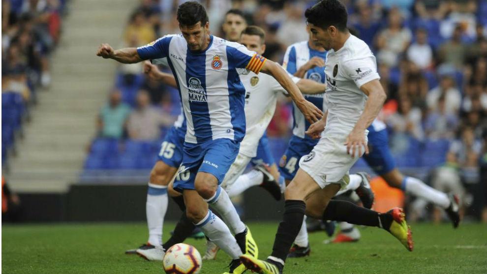 Javi López, contra el Valencia.