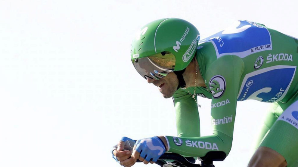Valverde durante una etapa de La Vuelta