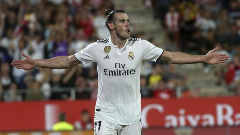 Gareth Bale celebra uno de los tantos logrados ante el Girona.